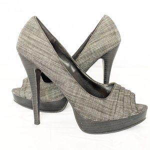 Paprika Gray Heel 10 Denim Ruffled Open toe